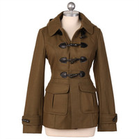 marine one green toggle coat by Tulle