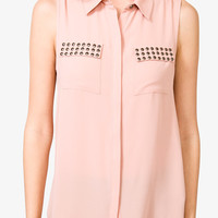 High-Low Studded Pocket Top