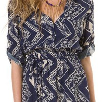 TRIBAL PRINTED SHIRT DRESS | Swell.com
