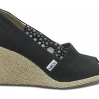 Black Calypso Canvas Women's Wedges | TOMS.com