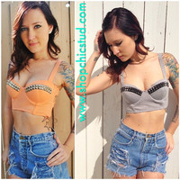 Studded Bustier Bra Top- Orange Creme or Grey - Silver, Black, or Gold Studs-