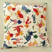 Colorful & Fun Cat Print Cotton Pillow Cover  from Smiling Cat Designs