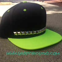 Studded Snapback Hat Neon Green-  One Row - Gold or Silver or Black Studs