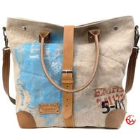 Canvas Shoulder Tote // Upcycled and Handmade by peace4you - Model leo-2111