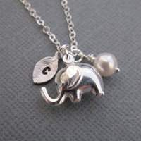 Personalized Tiny elephant necklace in Sterling Silver. CUSTOM INITIAL. Birthstone Charm.