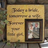 Parent Wedding Thank You, Father of the Bride, Mother of the Bride, Personalized Picture Frame, 16X16, Today a Bride, Dad, Daddy, Mom