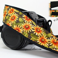 Daisy dSLR Camera Strap, Pocket, Yellow, Orange, Daisy, Floral