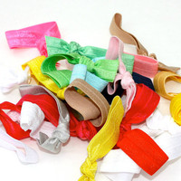 20 Elastic Hair Ties Grab Bag - Women&#x27;s Hair Accessories - Ribbon Hair Ties - Emi Jay Like Cloth Hair Ties - Soft Stretchy Cloth Bracelets