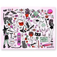 CREEPY CRUISERS tattoo flash sheet print
