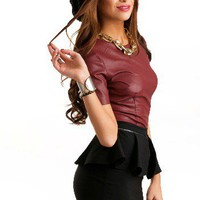 Oxblood Leather Top