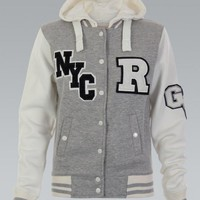 Gray NYC Varsity Hooded Jacket
