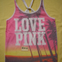 NWT New Victoria's Secret Pink Love Dye PalmTree Tank T Shirt Top  S Small M L