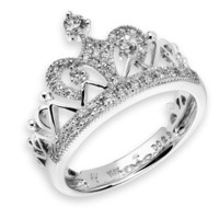 18K White Gold Crown Of Queen Cluster Style Round Diamond Ring (0.29 cttw, G-H Color, VS2-SI1 Clarity)