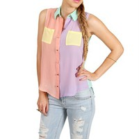 Muliti Colorblock Sleeveless Top