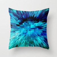 BLUE EXPLOSION Throw Pillow by catspaws | Society6