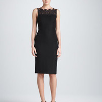 Lace-Yoke Cocktail Dress, Black