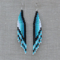 Long Earrings. Aqua, Mint, Blue, White, Black,Teal Earrings. Dangle Fringe Earrings. Beadwork