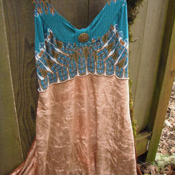 Upcycled Tribal Sun Dress/ Eco Chic Stretch by FuriousDesigns