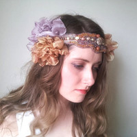 1920&#x27;s Flapper Floral crown Flower crown Headband / Headdress Festival Tribal Bellydance Embellished - &#x27;Fae Fever&#x27;