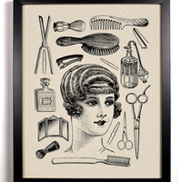 Hers, Vintage Woman and toiletries Art Print 8 x 10 Buy 2 Get 1 FREE scissors brush flat iron perfume beautiful