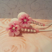 Hawaiian  Petal Flower Pink Earbuds With Swarovski Crystals