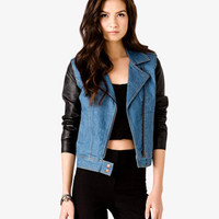 Faux Leather Sleeve Moto Jacket