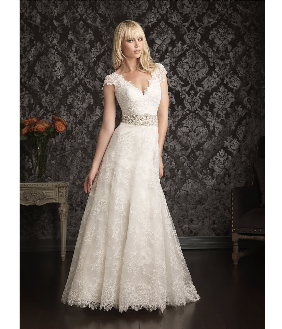 2013 allure bridal ivory silver lace from unique vintage for Ivory and silver wedding dress