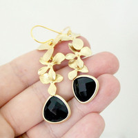 Black Onyx Triple Orchid Earrings by anatoliantaledesign on Etsy