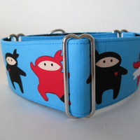 Ninja Martingale Collar, Ninja Dog Collar, Blue, Black, Greyhound Collar, Dog Collar, Martingale Dog Collar