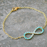 Ombre Turquoise Infinity Bracelet Wire Wrapped Gold Brass and Chain MADE TO ORDER