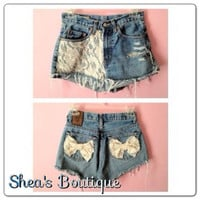 Lace Jeans with Bows by SheaBoutique on Etsy