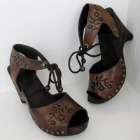 Clog Shoe Brown Florette Sandal Handmade Tooled by karenkell