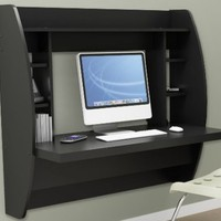 Prepac Floating Desk with Storage - Black