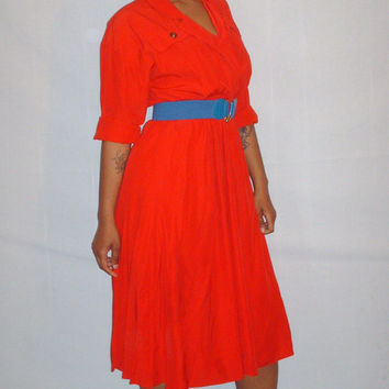 Vintage 1990s Red Classic Dress Plus Size