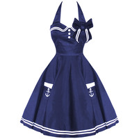 HELL BUNNY MOTLEY NEW NAVY VTG 50S RETRO NAUTICAL SAILOR ROCKABILLY PINUP DRESS
