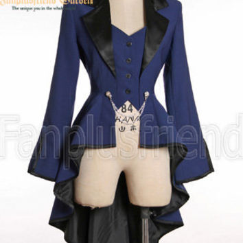Elegant Gothic Aristocrat Irremovable Vest Ball Wavy Tuxedo Jacket*5colors Instant Shipping