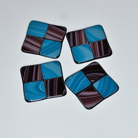 Handmade Fused Glass Drink Coasters Set Blue by eyeseesage on Etsy