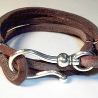 Leather Bracelet Brown With Silver Hook | JabberJewels - Jewelry on ArtFire