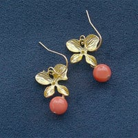 Coral and Gold Orchid Earrings Flowers on Gold by FiveThirty