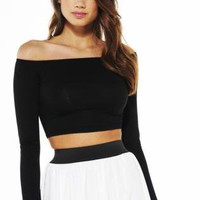 Off The Shoulder Long Sleeve Crop Top