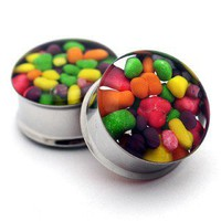 Embedded Rainbow Nerds Plugs gauges  00g by mysticmetalsorganics