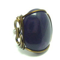 Purple Wrapped Ring in Vintage Bronze Wire by FaroCreations