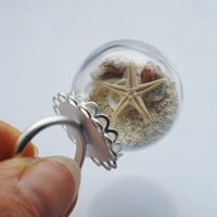 Real Starfish Ring Glass Globe Tiny Seashells Beach Sand Keepsake Summer Ocean Lover OOAK