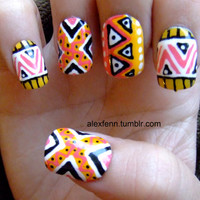 Zig zag hand painted tribal/aztec fake nails by CompulsiveNails