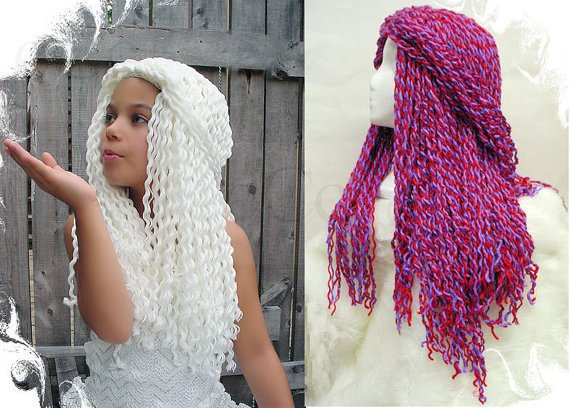 Crochet Hair With Yarn : Yarn Falls Hair Crochet Hat Wig White from coocoos on Etsy