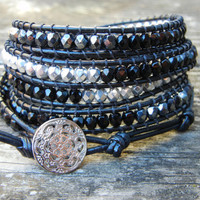 Beaded Leather 5 Wrap Bracelet with Black Silver and Hematite Polished Czech Glass Beads on Black Leather