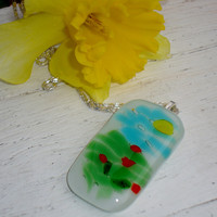 Poppy field painting pendant necklace in fused by GeckoGlassDesign