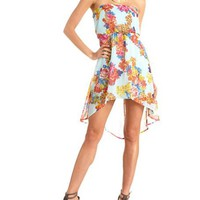 Floral Chiffon Hi-Low Tube Dress: Charlotte Russe