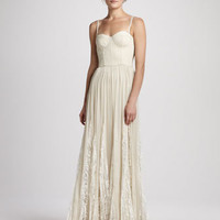 Alice + Olivia Geneva Bustier Pleated Maxi Dress