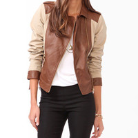 Contrast Khaki Moto Jacket